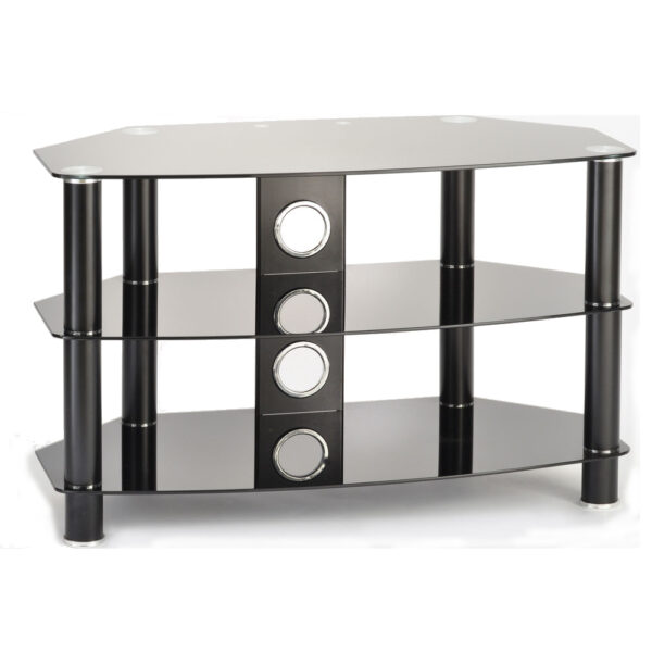 1200mm TV Stand Black Glass Black Legs