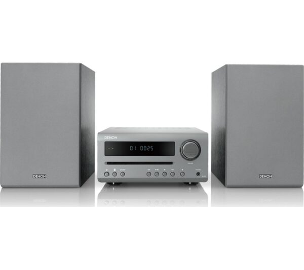 DENON DT-1 Bluetooth Traditional Hi-Fi System - Grey, Grey