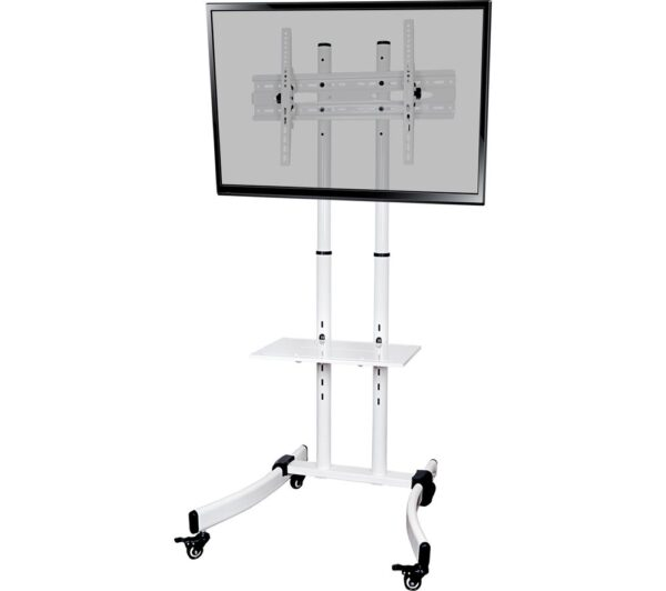 PROPER P-TTT103W-1 Trolley 700 mm TV Stand with Bracket - White, White