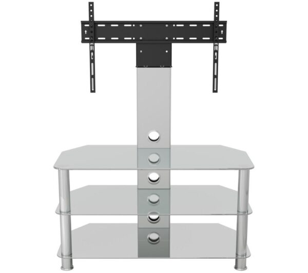 AVF SDCL900CC 900 mm TV Stand with Bracket - Clear & Chrome