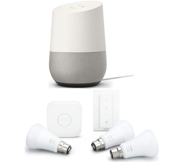 PHILIPS Hue A60 White & Colour B22 Kit & Google Home Bundle, White