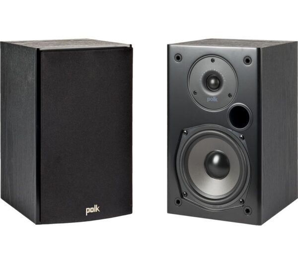POLK T15 2.0 Bookshelf Speakers - Black, Black