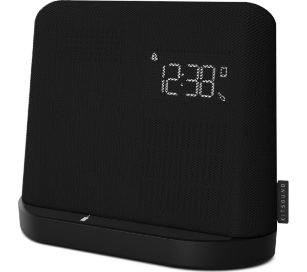 Kitsound XDock Qi FM Bluetooth Clock Radio - Black, Black