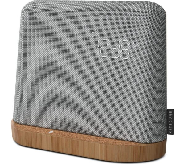 Kitsound XDock Qi FM Bluetooth Clock Radio - Grey, Grey