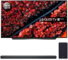 "55"" LG OLED55C9PLA Smart 4K Ultra HD HDR OLED TV & SL9YG 4.1.2 Wireless Sound Bar Bundle, Black"