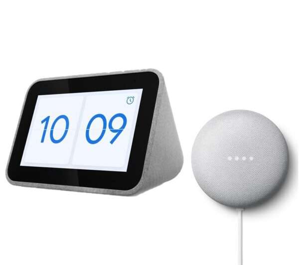 LENOVO Smart Clock with Google Assistant & Chalk Google Nest Mini (2nd Gen) Bundle