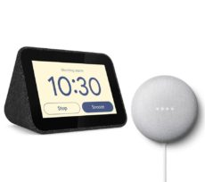 LENOVO Smart Clock with Google Assistant & Chalk Google Nest Mini (2nd Gen) Bundle - Black, Black