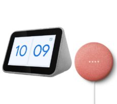 LENOVO Smart Clock with Google Assistant & Coral Google Nest Mini (2nd Gen) Bundle, Coral