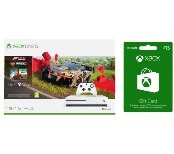 MICROSOFT Xbox One S with Forza Horizon 4, LEGO Speed Champions & £15 Xbox Live Gift Card Bundle