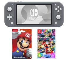 NINTENDO Switch Lite, Mario Kart 8 Deluxe & eShop £15 Gift Card Bundle - Grey, Grey