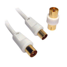 40m White TV Aerial Cable Gold Plated Male to Male with Adapter