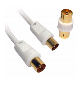 5m TV Aerial Cable White Gold Plated Male to Male
