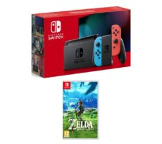 NINTENDO Switch Neon Red & The Legend of Zelda Breath of the Wild Bundle, Neon
