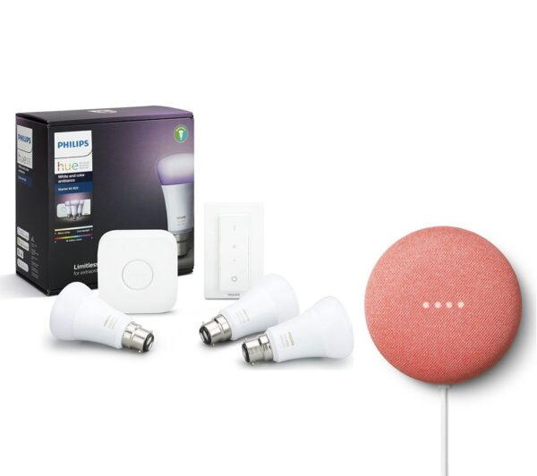 PHILIPS Hue A60 White & Colour Ambience B22 Starter Kit with Google Nest Mini Bundle, White