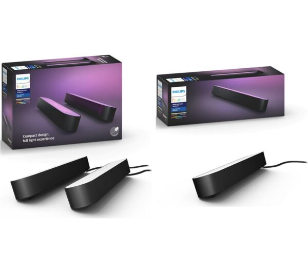 PHILIPS Hue Play Light Bar Twin Pack & Extension Kit Bundle, Black